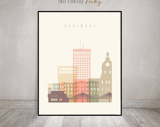 Savannah art print, Poster, Savannah skyline, Travel wall art, Georgia, City print, Travel, Gift, Home Decor, Wall decor, ArtPrintsVicky