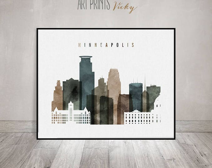 Minneapolis skyline, Minneapolis print, watercolor poster, Wall art, Minnesota, travel gift, Home Decor, Travel Decor, ArtPrintsVicky
