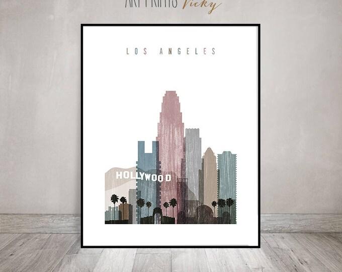 Los Angeles art, print, LA poster, Los Angeles skyline, Travel Wall art, California art, Distressed, Gift, Home Decor, ArtPrintsVicky.