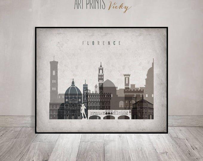 Wall art Florence, print, Florence Poster, Florence skyline, Italy, office decor, travel, Vintage style, Gift, Home Decor, ArtPrintsVicky