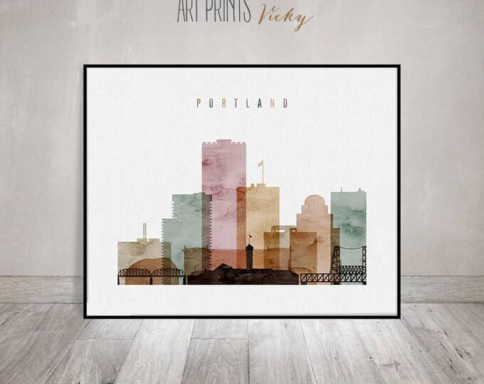 Portland wall art print, watercolor poster, Portland skyline, Oregon, Travel decor, Travel gift, housewarming gift ArtPrintsVicky