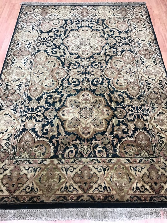 "5' x 7'2"" Indian Jaipur Oriental Rug - Green - Hand Made - 100% Wool"