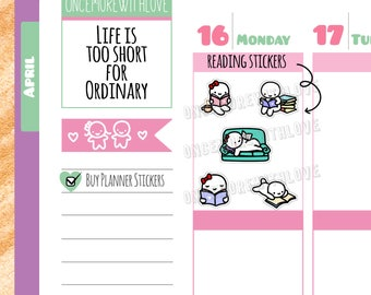 Munchkins - Reading Time Bookworm Planner Stickers (M300)
