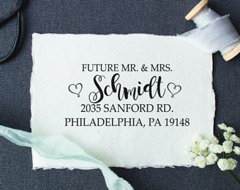 Future Mr & Mrs Address Stamp, Address Stamp,  Custom Rubber Stamp, Self Inking Stamp, Personalized Stamp