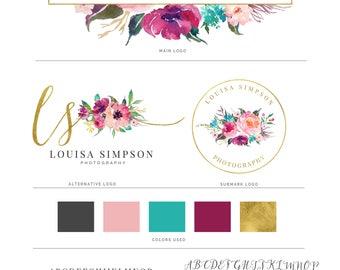 Watercolor Logo, Photography Logo, Logo Design, Logo, Premade Logo, Watermark Logo, Custom Logo, Business Card, Floral Logo