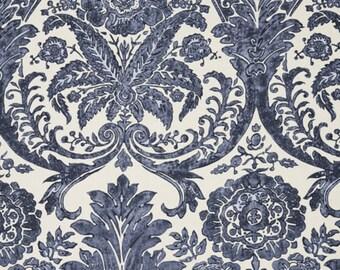 SCALAMANDRE LUCIANA DAMASK Print Linen Fabric 10 Yards Denim