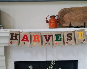 Harvest Banner, Fall Banner, Autumn Banner, Burlap Banner, Fall Decoration, Autumn Decoration, Autumn Party