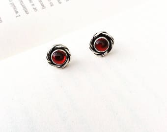 Garnet Rose - Sterling Silver Stud Earrings
