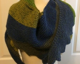 Hand Knitted Asymmetrical Scarf, Hand Knitted Asymmetrical Wrap