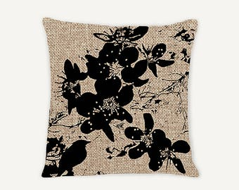 New Burlap - Birds and Blossoms Decorative Indoor Throw Pillow 14x14 - Rattan and Black - Burlap...