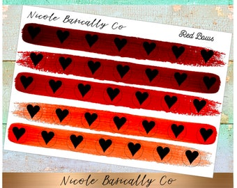 Heart Icons in Red Paint Stroke Colors- Planner Stickers