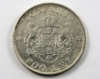 Romania 1942 Silver 200 Lei Coin.