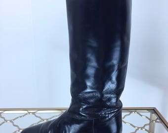 1980s Boots - Dark Blue Tall Leather Boots - Inky Blue - Charles David Designer Italian Leather Riding Boots -  Low Heel - 5.5 US - 36.5 EU