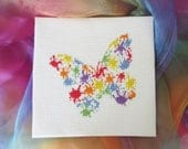 Butterfly cross stitch pattern, modern art, splattered paint, abstract rainbow counted cross stitch chart, fun, quick, easy instant download