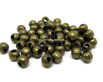 50 PC wood spacer beads 6 mm BRONZE colored metal