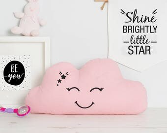 Baby Girl gift cute pink Cloud pillow, nursery decor kids smiling cloud throw pillow, gift idea
