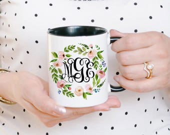 Initial Mugs - Monogram Mug - Custom Monogram Gift - Monogrammed Mugs - Name Mug - Custom Monogram Mug - Customized Mug for Her - Logo Mug