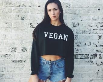 VEGAN Crop Sweatshirt Top All COLORS Available - Herbivore Kale Vegan Shirts Vegetarian Tshirts Animal Rights #ootd #instafashion S M L XL