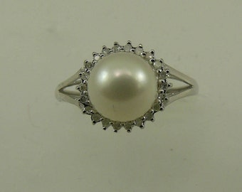 Freshwater White 8.1 mm Pearl Ring with Diamonds 14k White Gold