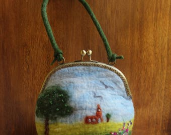 Wet-Felted Landscape Purse Bag With Metal Frame Clasp