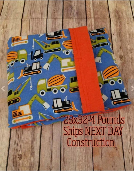 Construction, 4 Pound, WEIGHTED BLANKET. Ready To Ship, 4 pounds. 28x32 for Autism, Sensory, ADHD, Calming, Anxiety,