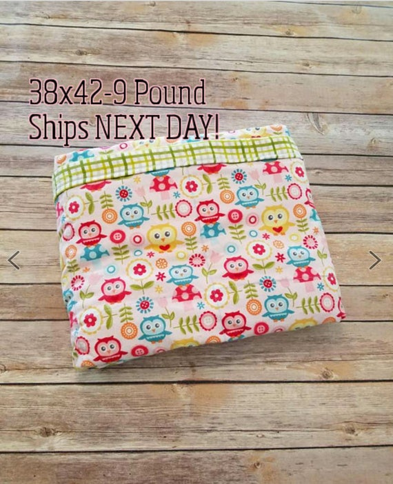 Owl, 9 Pound, WEIGHTED BLANKET, Ready To Ship, 9 pounds, 38x42 for Autism