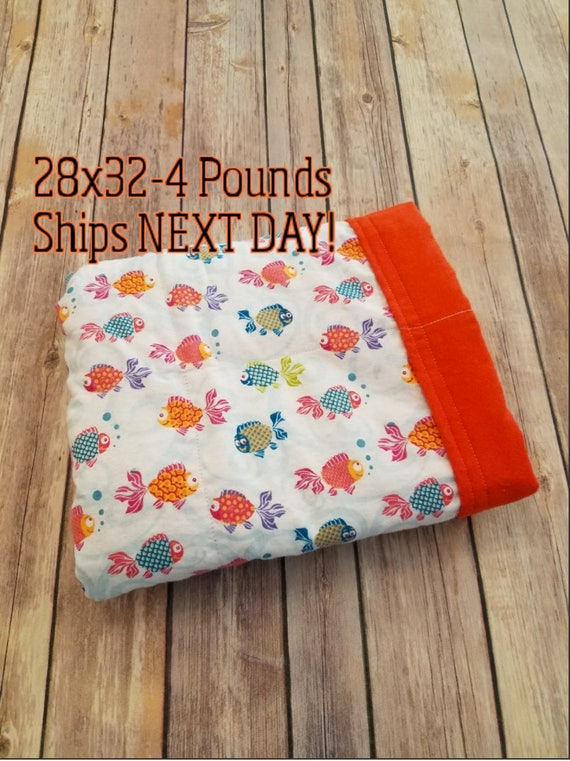 Colorful Fish, 4 Pound, WEIGHTED BLANKET, 4 pounds, 28x32, for Autism, Sensory, ADHD, Calming, Anxiety,