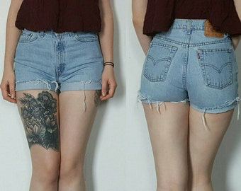High Waisted Denim Levi's 512 Shorts, Light Wash, Size 27, 80s, Made in USA