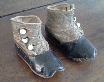 Antique Baby Shoes, Victorian Baby Shoes, Vintage Baby Shoes, Vintage Leather Baby Shoes, Vintage Children's Shoes, FREE SHIPPING