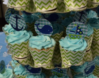 Baby Shower - Nautical Themed -Cupcake Toppers