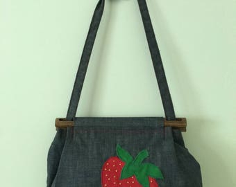 Denim Strawberry Purse