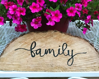 Family wood stump sign - hand painted