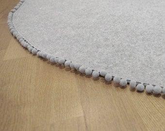MAT-round WOOL mat, play room mat, kids room mat, teepee mat, round floor mat, round mat, grey mat kids room