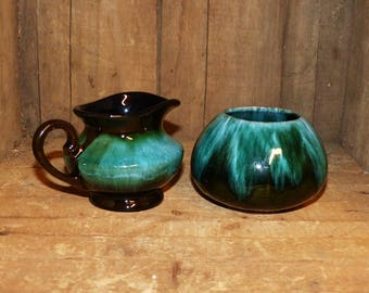 Blue Mountain Pottery Cream and Sugar Bowl Set BMP Collingwood Canada - 1394