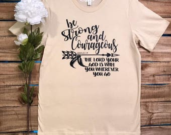 SHIRT: Christian Shirt. Bible Verse Tshirt. Christian Apparel, Religious Shirt, Faith Shirt. Joshua 1 9.