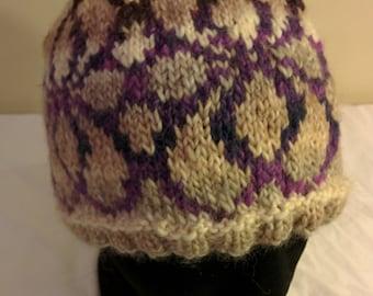 Handmade Knit Winter Hat Wool Toque