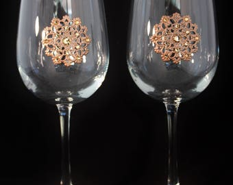 Jeweled Wine Glasses with Filigree and Crystal Medallion