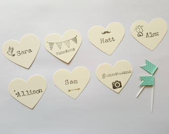 Wedding Place Cards, Custom Name Cards, Custom Wedding Place Cards, Heart Place Cards, Vintage Style Place Cards, Wedding Stationery