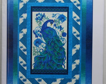 """Mosaic Plume:  a fabric panel pattern for a peacock.  Lap quilt size,  56"""" by 76."""""""