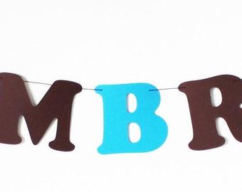 Guirlande prénom en papier sur cordon en coton enduit - prénom + 2 poneys