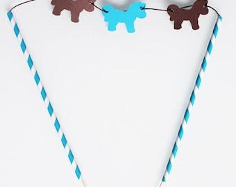 Décoration pour gâteau -thème poney club- marron turquoise