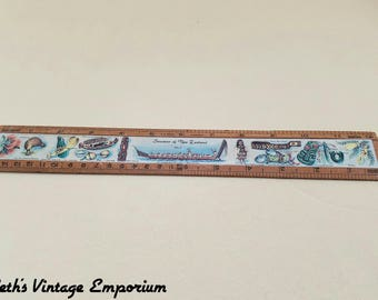 Wood Ruler ~ Souvenir of New Zealand ~ Travel Memorabilia ~ Native Scenes Items ~  Maori War Canoe and Warriors ~ Seths Vintage Emporium