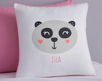 Panda Cushion | Kids Cushion | Character Bedding | Personalised Panda Cushion | Cotton | Panda Bedding | Girls Cushion | Girls Bedding