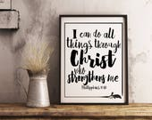 I can do all things through Christ Print. Phil 4:13 Bible verse Instant printable.PDF diy digital wall art. Christian print. Religious gift.