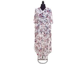 Chiffon  Abaya  Kaftan dress  Light weight elegant beach cover up.Women's beach kaftan dress , off white ,bird designed ,bird patterned