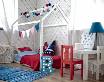 Children bed CRIB size, toddler bed, play tent, baby bed, Wooden bed, house bed, nursery crib, teepee bed, Montessori furniture SLATS
