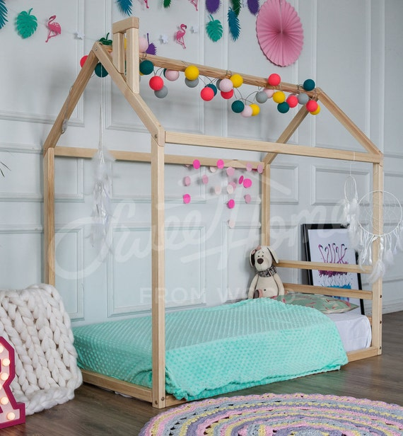Montessori Bed Children Furniture Wood House Toddler Bed