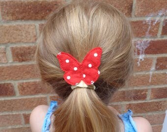 Bobby Pin Butterfly Red Polka Dot Hair Clips - Animal  - Children Pretty - Hair Accessory - Barrette - Hair Band - Hair Grip - Fascinator -