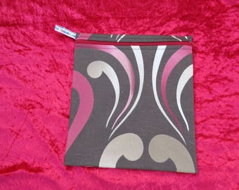 Brown Red Swirl -  Large Poppins Waterproof Lined Zip Pouch - Sandwich bag - Eco - Snack - Bikini Bag - Lunch Bag - Make Up - Beauty Bag