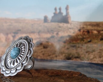 Oversized Oval Turquoise Statement Ring // The Earthy Soul // Statement Ring // Bohemian Ring // Southwest Ring // Hippie Jewelry // Gift